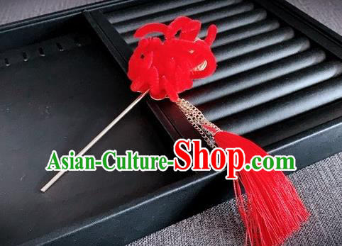 Traditional Chinese Ancient Qing Dynasty Palace Queen Red Velvet Chrysanthemum Hairpins Headwear Hair Accessories for Women