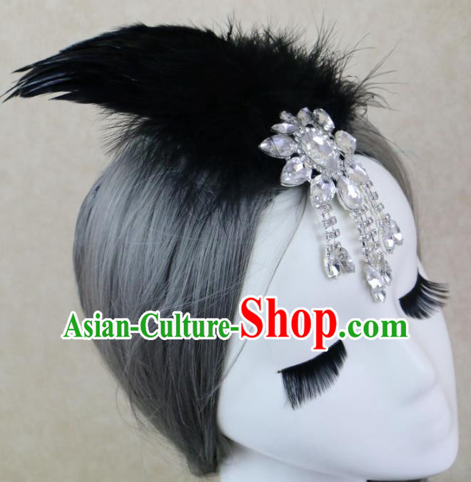 Top Grade Stage Performance Black Feather Hair Accessories Gothic Halloween Hair Stick Headwear for Women