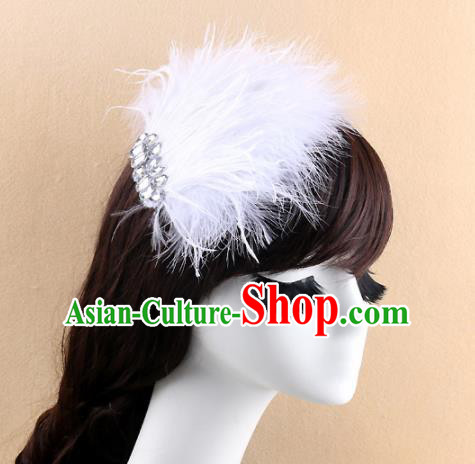 Top Grade Baroque Bride White Feather Hair Claw Headwear Wedding Hair Accessories for Women