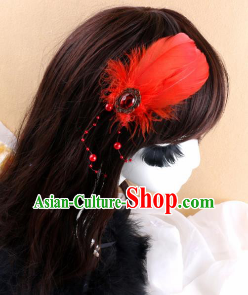 Top Grade Baroque Bride Red Feather Hair Claw Headwear Wedding Hair Accessories for Women