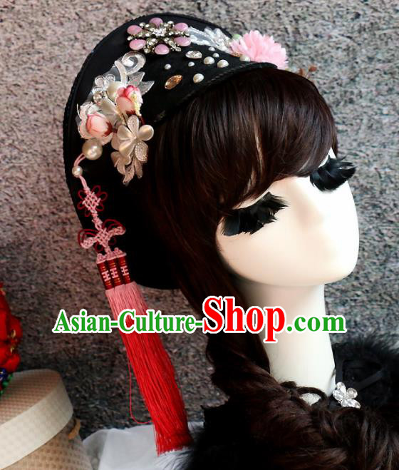Chinese Ancient Palace Princess Headwear Traditional Qing Dynasty Manchu Hair Accessories for Women