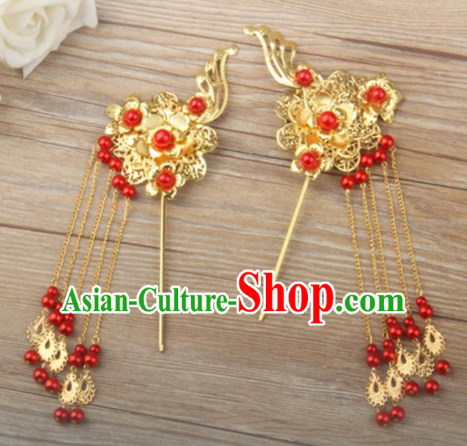 Chinese Ancient Bride Tassel Hairpins Traditional Hanfu Step Shake Hair Accessories for Women