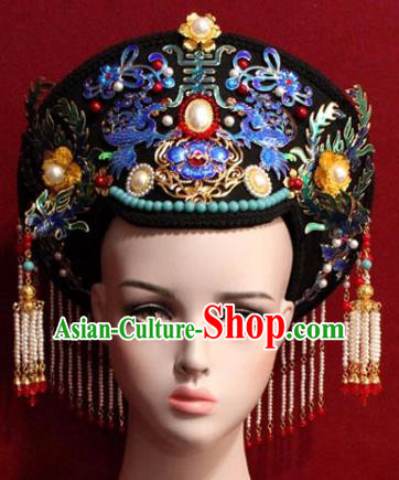 Chinese Ancient Manchu Empress Headwear Cloisonne Lotus Hat Traditional Qing Dynasty Queen Hair Accessories for Women