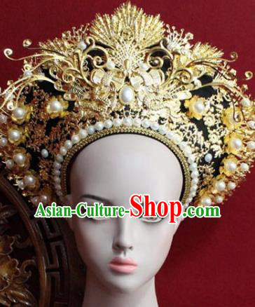 Chinese Ancient Manchu Empress Headwear Golden Hat Traditional Qing Dynasty Queen Hair Accessories for Women