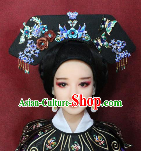 Chinese Ancient Imperial Consort Cloisonne Headwear Traditional Qing Dynasty Manchu Queen Hairpins Hair Accessories for Women