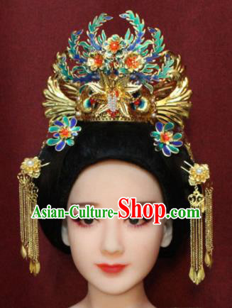 Chinese Ancient Imperial Consort Blueing Phoenix Coronet Headwear Traditional Tang Dynasty Queen Hair Accessories for Women