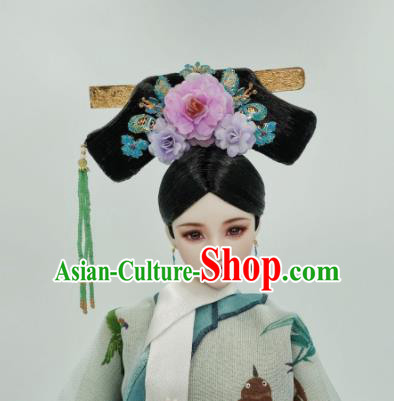 Chinese Ancient Qing Dynasty Manchu Princess Headwear Traditional Palace Hair Accessories for Women