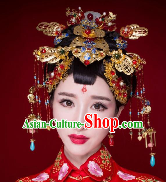 Chinese Ancient Bride Cloisonne Hairpins Jade Phoenix Coronet Traditional Palace Wedding Hair Accessories Complete Set for Women
