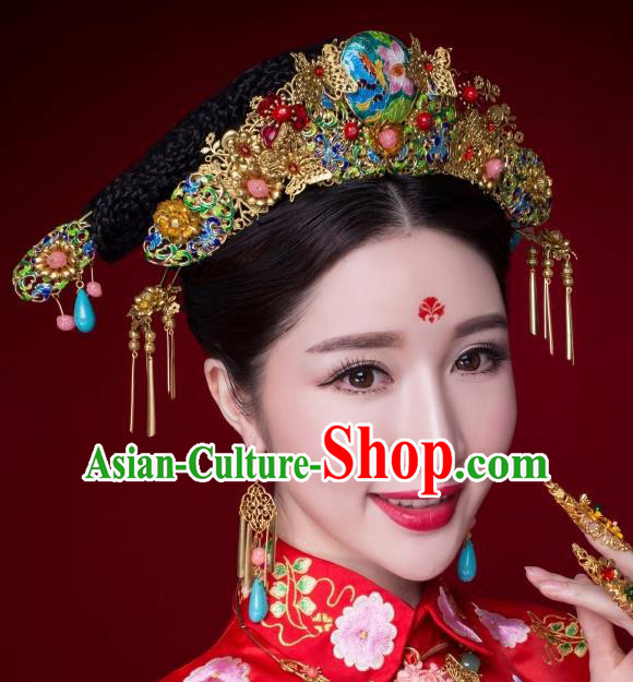 Chinese Ancient Bride Hairpins Cloisonne Lotus Phoenix Coronet Traditional Palace Wedding Hair Accessories Complete Set for Women