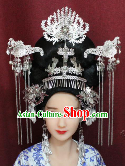 Chinese Ancient Wedding Phoenix Coronet Hairpins Traditional Palace Queen Hair Accessories for Women