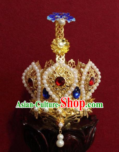 Handmade Chinese Taoism Cloisonne Pearls Hairdo Crown Traditional Ancient Taoist Swordsman Hair Accessories for Men