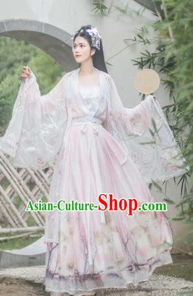 Chinese Tang Dynasty Princess Pink Hanfu Dress Ancient Peri Historical Costume for Women