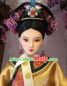 Chinese Ancient Manchu Imperial Consort Hat Headwear Traditional Qing Dynasty Palace Hair Accessories for Women