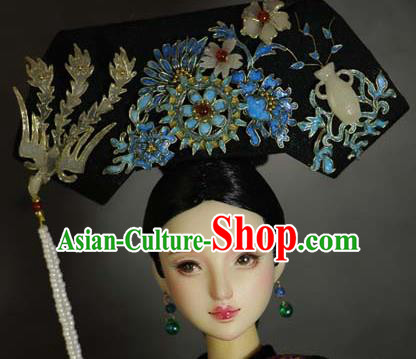 Chinese Ancient Palace Manchu Imperial Consort Cloisonne Headwear Traditional Qing Dynasty Queen Hair Accessories for Women