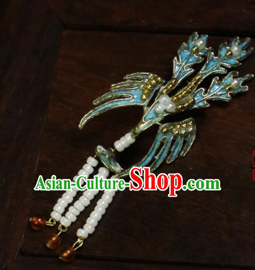 Chinese Ancient Cloisonne Phoenix Hairpins Traditional Qing Dynasty Palace Manchu Imperial Consort Hair Accessories for Women