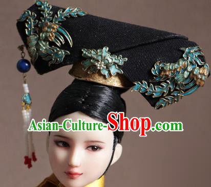 Chinese Ancient Palace Manchu Phoenix Headwear Traditional Qing Dynasty Imperial Consort Hair Accessories for Women
