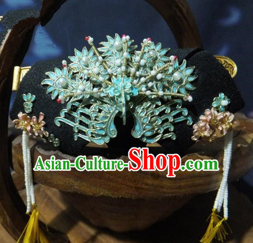Chinese Ancient Palace Queen Cloisonne Phoenix Headwear Traditional Qing Dynasty Manchu Empress Hair Accessories for Women