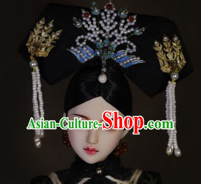 Chinese Ancient Cloisonne Phoenix Tassel Headwear Traditional Qing Dynasty Palace Manchu Imperial Consort Hair Accessories for Women
