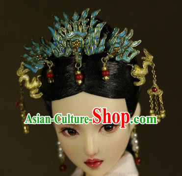 Chinese Ancient Empress Cloisonne Phoenix Hairpins Headwear Traditional Qing Dynasty Palace Manchu Queen Hair Accessories for Women