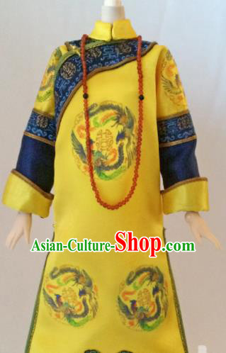 Chinese Qing Dynasty Manchu Empress Yellow Qipao Dress Ancient Queen Embroidered Historical Costume for Women