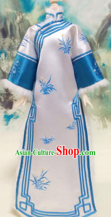 Chinese Qing Dynasty Manchu Princess Dress Ancient Palace Lady Embroidered Historical Costume for Women