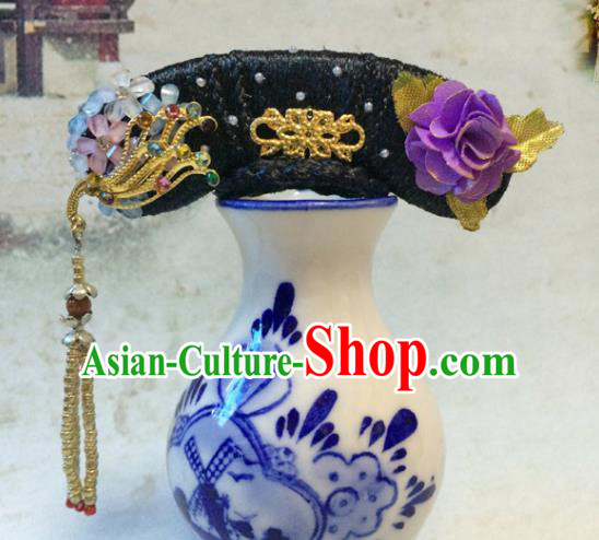 Chinese Ancient Manchu Palace Lady Headwear Traditional Qing Dynasty Princess Hair Accessories for Women