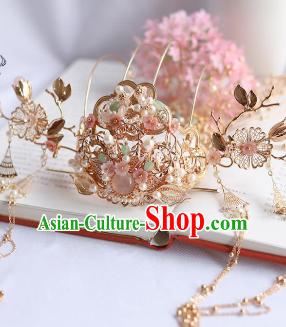 Chinese Ancient Princess Tassel Phoenix Coronet Hairpins Traditional Hanfu Hair Accessories for Women
