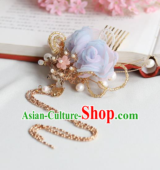 Chinese Ancient Princess Blue Flowers Hair Comb Hairpins Traditional Hanfu Hair Accessories for Women