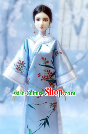 Chinese Qing Dynasty Manchu Lady Blue Qipao Dress Ancient Imperial Consort Embroidered Historical Costume for Women
