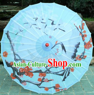 Handmade Chinese Traditional Printing Plum Cranes Oiled Paper Umbrellas Ancient Princess Umbrella