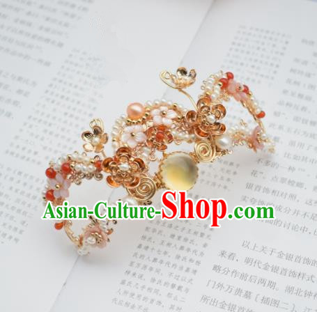 Chinese Ancient Princess Palace Hair Crown Hairpins Traditional Handmade Hanfu Hair Accessories for Women