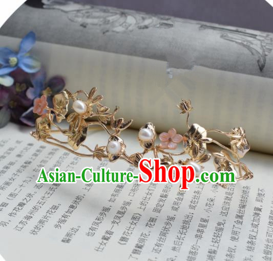 Chinese Ancient Princess Palace Golden Lotus Hair Crown Hairpins Traditional Handmade Hanfu Hair Accessories for Women