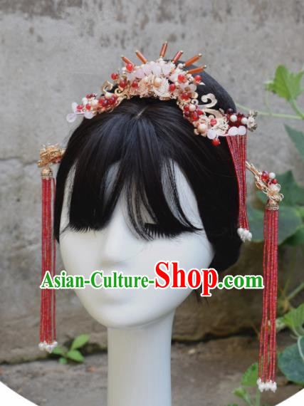 Chinese Ancient Palace Agate Hair Crown Princess Hairpins Traditional Handmade Hanfu Hair Accessories for Women