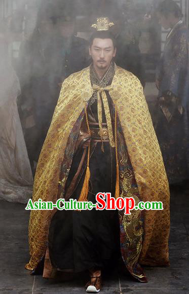 Chinese Ancient Drama Emperor Hanfu Clothing Traditional Northern and Southern Dynasties Historical Costume and Headwear for Men