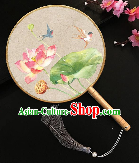 Chinese Handmade Classical Palace Fans Printing Red Lotus Silk Round Fan for Women