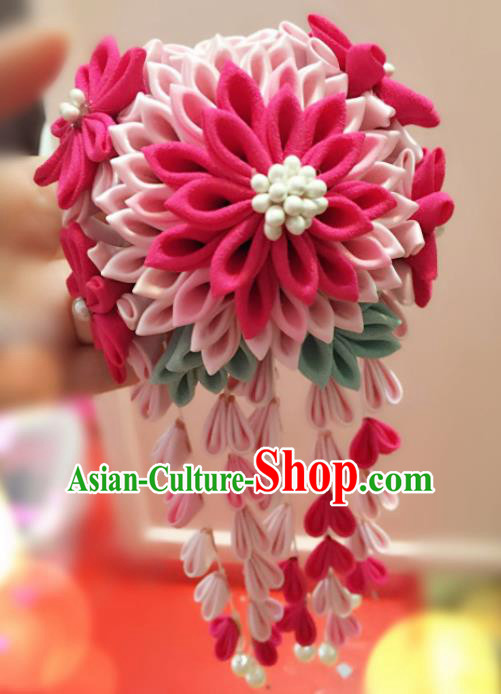 Japan Traditional Geisha Yukata Rosy Flowers Tassel Hair Claw Japanese Handmade Kimono Hair Accessories for Women