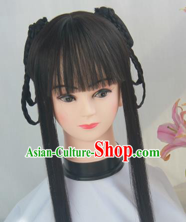Handmade Chinese Traditional Hanfu Blunt Bangs Wigs Sheath Ancient Swordswoman Chignon for Women