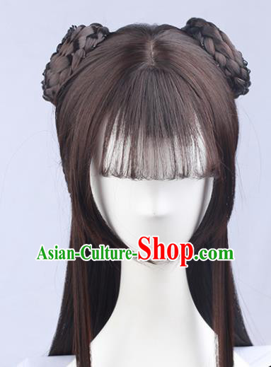Handmade Chinese Traditional Hanfu Blunt Bangs Brown Wigs Sheath Ancient Nobility Lady Chignon for Women
