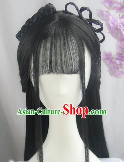 Handmade Chinese Ancient Swordswoman Headpiece Chignon Traditional Hanfu Blunt Bangs Wigs Sheath for Women