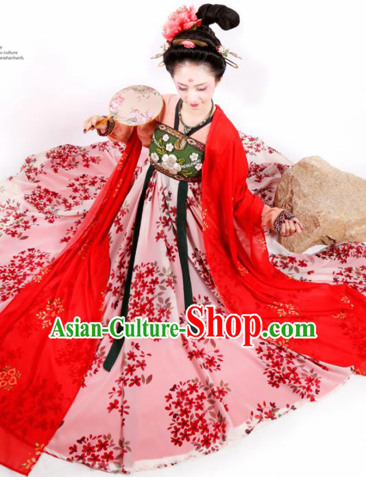 Chinese Ancient Court Lady Pink Hanfu Dress Traditional Tang Dynasty Imperial Consort Embroidered Historical Costume for Women