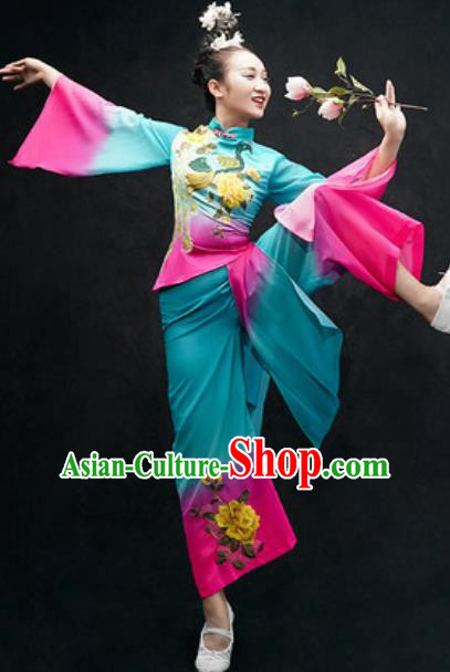 Chinese Classical Dance Costume Traditional Umbrella Dance Blue Clothing for Women