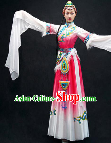 Chinese Zang Nationality Dance Costume Traditional Tibetan Bride Pink Dress Clothing for Women
