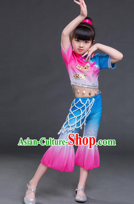 Chinese Folk Dance Stage Performance Costume Traditional Yangko Dance Clothing for Kids