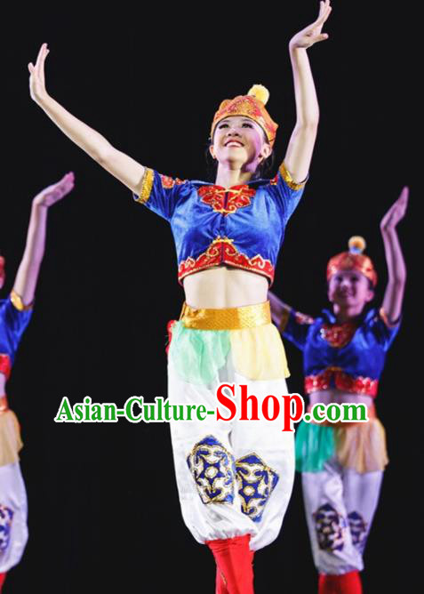 Chinese Mongolian Nationality Ethnic Dance Costume Traditional Mongol Clothing for Kids