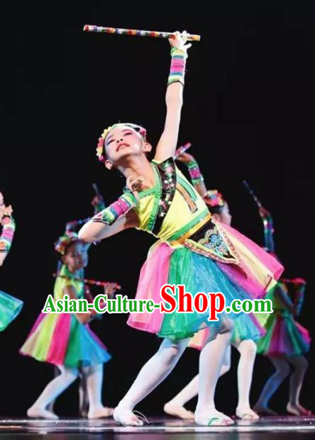 Chinese Miao Nationality Ethnic Dance Costume Traditional Hmong Folk Dance Clothing for Kids