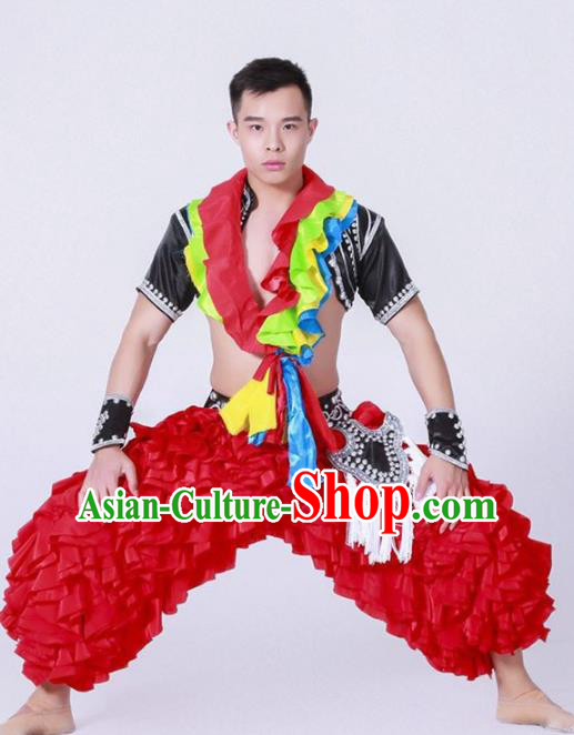 Chinese Miao Nationality Ethnic Dance Costume Traditional Minority Dance Clothing for Men