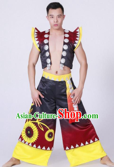 Chinese Zhuang Nationality Ethnic Dance Costume Traditional Minority Dance Clothing for Men