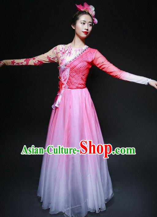 Chinese Classical Dance Stage Performance Costume Traditional Opening Dance Pink Dress for Women