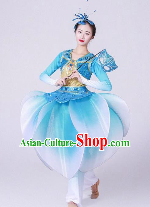 Chinese Folk Dance Yangko Stage Performance Blue Costume Traditional Lantern Dance Clothing for Women