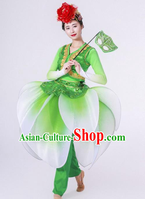 Chinese Folk Dance Yangko Stage Performance Green Costume Traditional Lantern Dance Clothing for Women